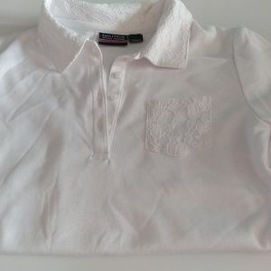 Girls size 8-10 short sleeve polo with lace